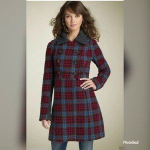 Free People Plaid Double Breasted Pea Coat